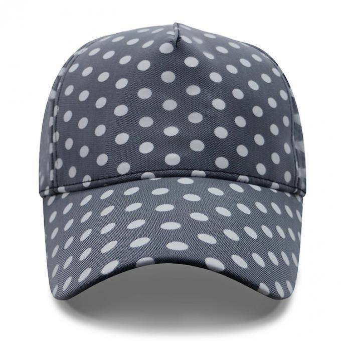 Curved Brim Baseball Cap / Youth Fitted Baseball Hats With Plain Black White Dot Printed