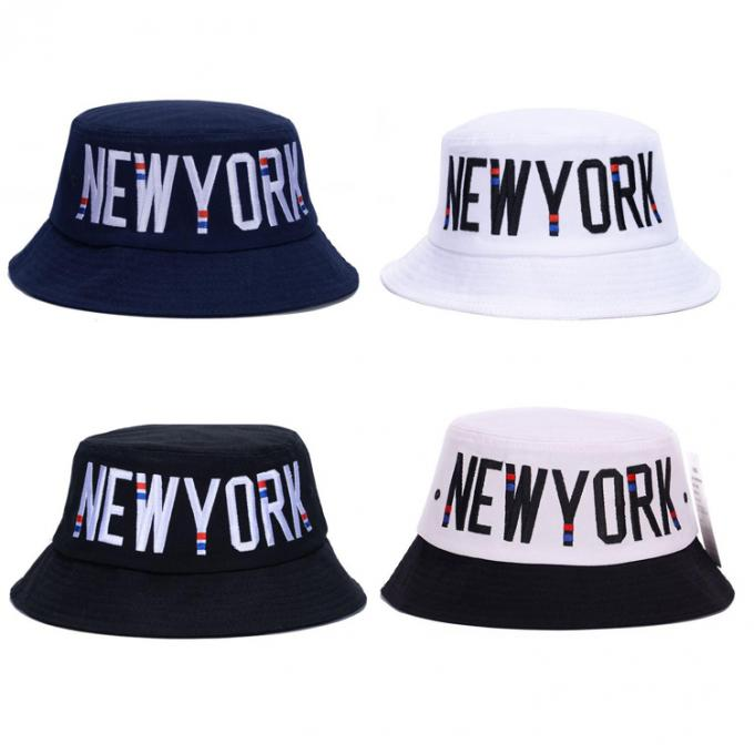 Embroidery New York Style Fisherman Bucket Hat 100% Polyester Fabric