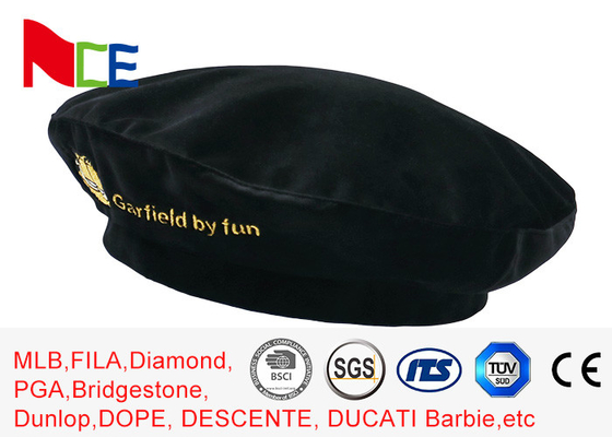 China FUN Black Mercerized Female Green Beret Hat Embroidered Velvet Beret Hat Breathable supplier