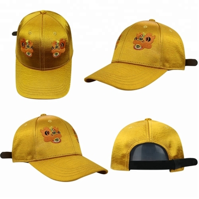 Yellow Girls 6 Panel curved Cap / Custom Embroidered Baseball Caps Plain Pattern