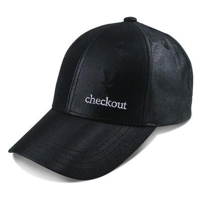 Unisex Black Sports Dad Hats 6 Panel Fashion Design Leather Material