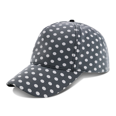 China Curved Brim Baseball Cap / Youth Fitted Baseball Hats With Plain Black White Dot Printed supplier