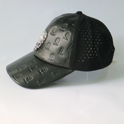 Metal Skull Design Womens Leather Baseball Hat With Hole Waterproof