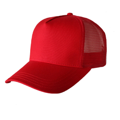 Beautiful Red Blank Mesh Trucker Cap , Premium Design Mens 5 Panel Caps