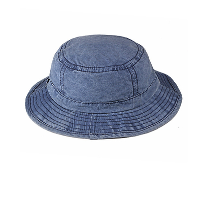 Ladies Blue Tie Dye Men'S Boonie Bucket Hats , Washed Denim Fishing Hat