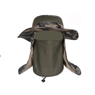 100% Cotton Sun Protection Mens Hiking Boonie Hat With Neck Flap Plush Style