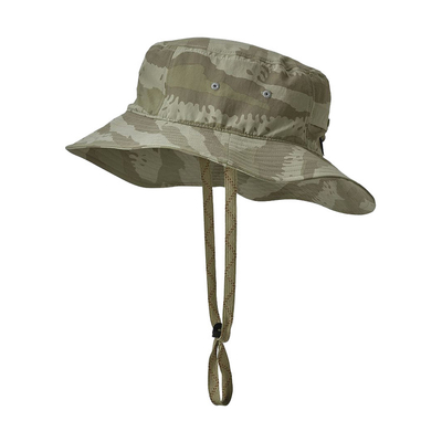 Adjustable Folding Outdoor Boonie Hat , Men Beach Sunshade Camo Bucket Hat With String