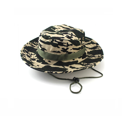100% Cotton Fisherman Bucket Hat With Strings Plain Pattern Quick Dry