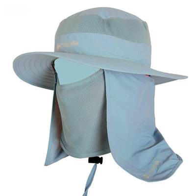 China Customized Sun Protection Cap With String / Mens Sun Hat With Neck Protector supplier