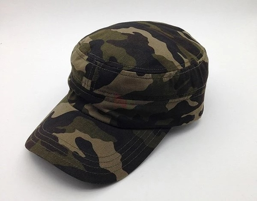 Durable Camouflage Military Cadet Cap Pure Cotton 3d Embroidery Fitted