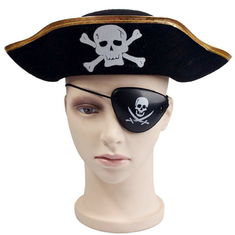 Decorative Black Halloween Pirate Hat , Unique Funky Festival Hats Skull Patterned