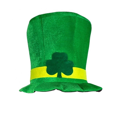 China Irish Festival St Patricks Day Hat , Shamrock Green Top Funky Festival Hats supplier