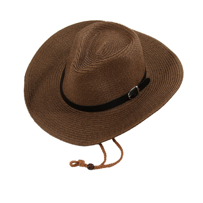 Fashionable Knitted Summer Cowboy Straw Hat With Embroidered Logo
