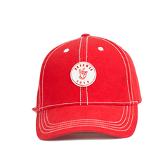 Adjustable Fashion Style Customize Red 6-Panel Embroidery Woven Patch Logo Baseball Caps Hats