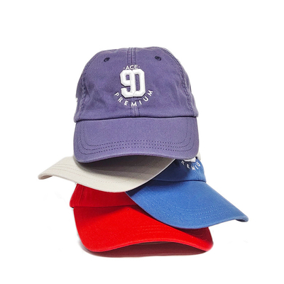 3d Puff Washed Cotton Unstructured Baseball Caps / Metal Buckle Dad Hats