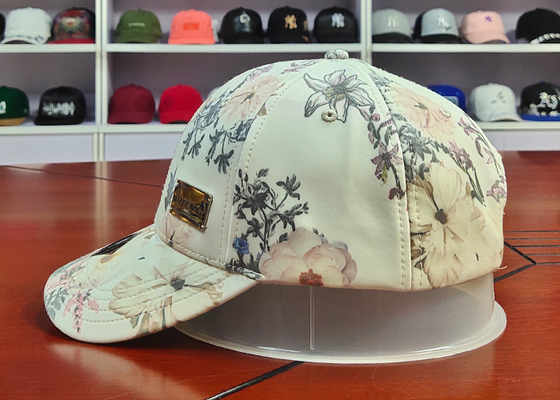 Customized Colors Chinese Style ACE Flower Printed Logo 6panel metal patch Baseball Sport Caps Hats