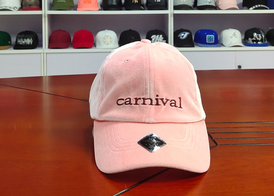 Velvet Fabric Pink 6 Panel Baseball caps With Embroidery Logo / Curve Bill Hats