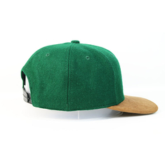 Wool / Acrylic Material Flat Brim Snapback Hats Woven Badge Patch