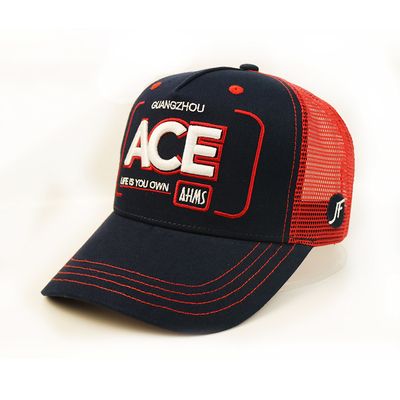 Classic 3D Embroidery Logo 5 Panel Mesh Trucker Caps For Men Light Weight