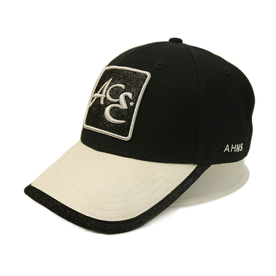 Black Applique Patch Flat Embroidery Men Hip Pop Baseball Cap With Metal Buckle