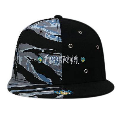 China Custom Chinese Style Flat Brim Snapback Hats / 6 Panel Camo Embroidered Snapback Hats supplier