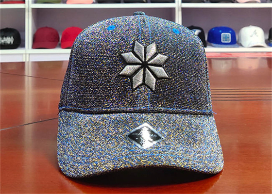ACE Flower Pattern Glitter Cloth Embroidered Baseball Caps Metal Thread Baseball Curve Brim Cap