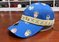 China Durable 100% Polyester Printed Baseball Caps 6 panel With Woven Band company