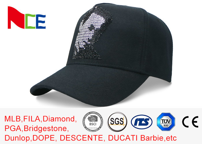 Rhinestone Cotton 5 Panel Baseball Cap Sun Proof 58cm For Adult Eco Friendly