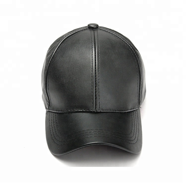 Color Blank Pu Leather 5 Panel Baseball Cap For Women Unconstructed Style