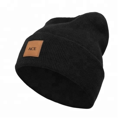 China Comfortable Plain Knit Beanie Hats With Leather Patch Customized Size / Color factory