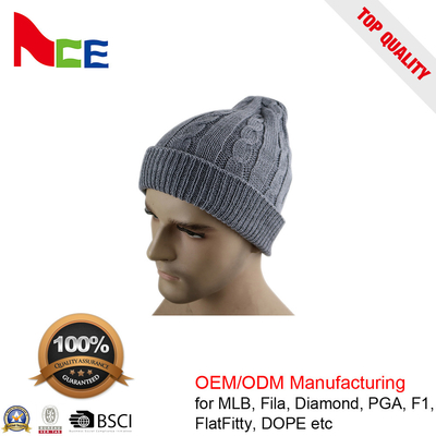 China Unique Unisex Fitted Beanie Hats / Grey Mens Winter Beanie Hats 56-60CM factory