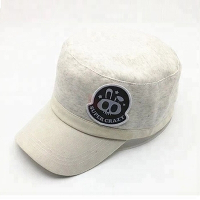Personalized White Military Cadet Cap For Guys With Embroidered Pattern