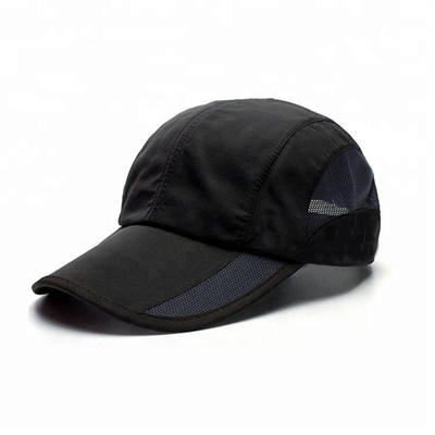 4 Panel Summer Golf Hats , Black Mesh Golf Hats OEM / ODM Available