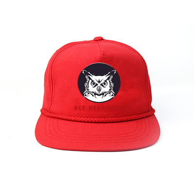 Red Rope Nylon Snapback Cap Hat Custom Made Unstructured Plain Blank
