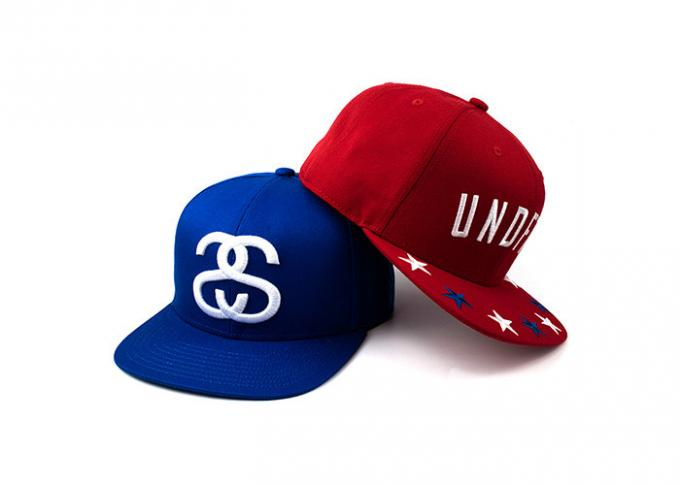 6 Panel Man Flat Brim Snapback Hats Red And Blue With 3D Embroidery Of Wool Acrylic